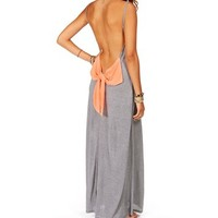 Grey/Peach Stripe Bow Back Maxi Dress