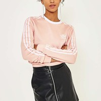 adidas Originals 3-Stripe Pink Long Sleeve T-Shirt | Urban Outfitters