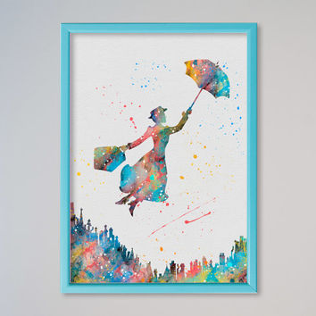 Mary Poppins FRAMED watercolor Poster Art Print Printed Watercolor Print, poster Disney