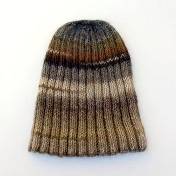 Knit Watchcap, Ribbed Knit Watchcap, Knit Striped Hat, Brown Striped Hat, Wool Blend Hat, Beanie, Mens Hat, Womens Hat, Teen Hat