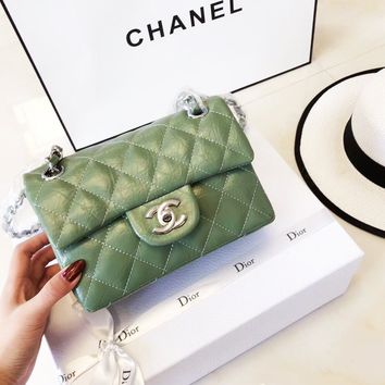 Chanel 2018 classic counter models elephant pattern chain bag Green