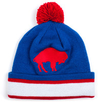Caps - Knit - Mitchell and Ness Striped Cuff Knit Beanie with Pom - Buffalo Bills - DTLR - Down Town Locker Room. Your Fashion, Your Lifestyle! Shop Sneakers, Boots, Basketball shoes and more from Nike, Jordan, Timberland and New Balance