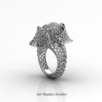 Yerevan - Cathartic Beauty 14K White Gold Modern Rococo Lace Ring R530-14KWG