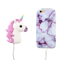 2000 mAh Portable Power Bank Phone Charger - White Unicorn