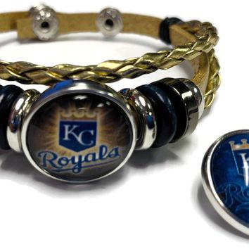 MLB Kansas City Royals Gold Leather Bracelet W/2 Cool Logo Snap Jewelry Charms New Item