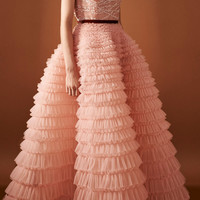 Embroidered Bodice Sleeveless Gown With Tulle Skirt | Moda Operandi