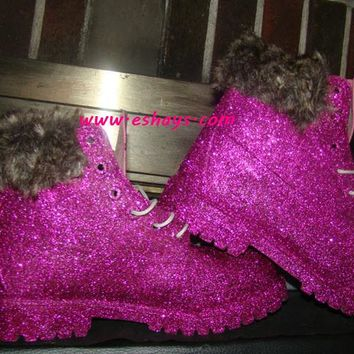 Custom Hot Pink Glitter Timberland Boots with Fur Collar
