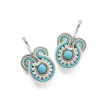 Small Turquoise Earrings Turquoise Earring Turquoise Earings Light Blue Earrings Turquoise and White Turquoise Jewelry Soutache Earring