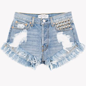 450 Aged Studded High Waist Cut Off Shorts