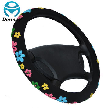 Black Steering Wheel Cover Cartoon Flowers Steering Cover All Seasons Wheel Cover 38cm Diam Car Accessory