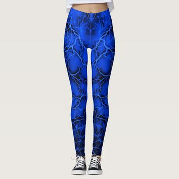 Blue lightning, bolts pattern thunders on dark sky leggings
