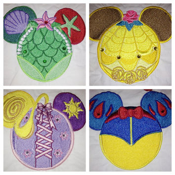 Disney Mouse Ears embroidered Sew On Patch. Free Personalization Woody/Buzz/Ariel/Belle/Snow White/Rapunzel