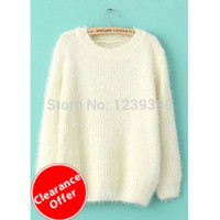 2014 hot fall and winter women's round neck sweater hedging loose white casual sweater, Cheap wholesale drop shipping