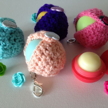 Peach EOS Lip Balm Cozy/Holder with Sparkly Silver Heart Button Closure and Split Ring/Lobster Clasp for Clip-On