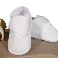 Cotton Sateen White Bootie Dress Shoes w. Cross-over Strap Baby Boys 0-9M