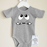 Funny Monster Baby Bodysuit. Halloween Baby Costume. First Halloween Baby Bodysuit. Halloween Baby Shirt. Cute Monster Baby Clothes.