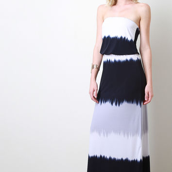 Strapless Striped Dye Maxi Dress