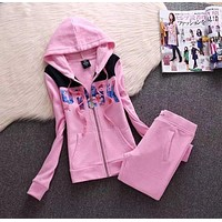 "Victoria's Secret ""PINK"" Letter Print Women Trending Sweater Casual Sportswear Two Piece Set Pink I"