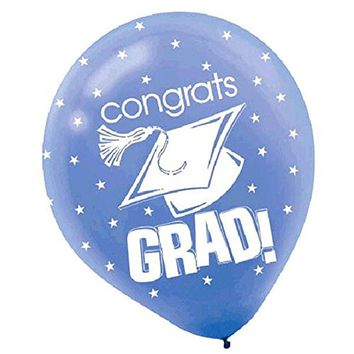 Amscan Congrats Grad Graduation Party Balloon Decoration (Pack of 15), Multicol