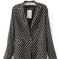 Blends Black Long Sleeve V-Neck One Button Design Dot Blazer ( color) style 819zz008 in  Indressme