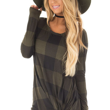 Olive and Black Plaid Soft Tee Shirt with Twist Detail
