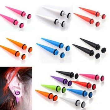 PEAPIX3 New Illusion Ear Fake Cheater Stretcher Rivet Taper Plug Tunnel Gauges Party Hot = 1946247812