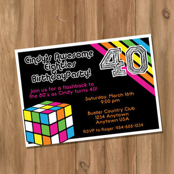 Awesome 80's Birthday Party Invitation (Digital - DIY)