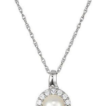 Sterling Silver Freshwater Cultured White Pearl Rope Chain Pendant Necklace