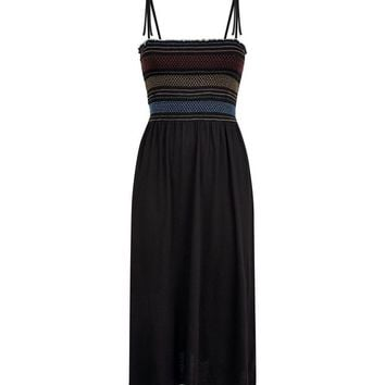 Black Contrast Stitch Shirred Midi Dress | New Look