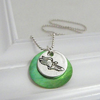 Track and Field Necklace - Hand Stamped Silver with Shell Pendant on Etsy