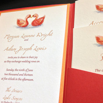 "Swan Wedding Invitation Pocketfold Set - Rustic Wedding Invitation ""Swan Love"" Red Orange Wedding - Autumn Accommodation RSVP Reception Card"