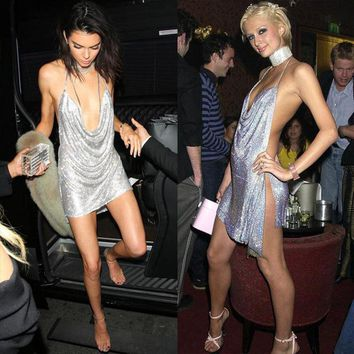 Sequined Women Sexy Backless Metal Neck Halter Deep V Neck Sleeveless Dress 2017 Kendall Jenner 21st Birthday Party Dress