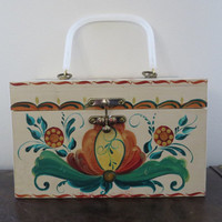 Cute Vintage Wooden Retro Novelty Floral Basket Bag / Purse / Large / Picnic