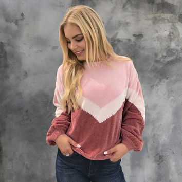 Calissa Chevron Soft Sweater