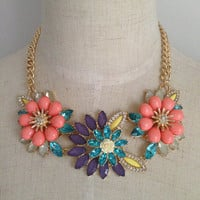 Pink Floral Statement Necklace, Resin Flower Necklace, Beadwork Necklace, Gold & Crystal Bib Necklace with Colorful Stones