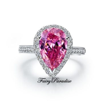 3 Ct Pear Cut lab made Synthetic Fancy Pink Diamond Engagement Wedding Cocktail Ring with gift box -made to order