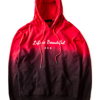 "Red Gradient ""Life is Beautiful"" Printed Drawstring Hoodie"