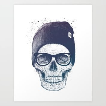 Color skull in a hat Art Print by Kodamorkovkart
