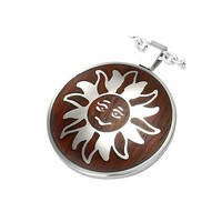 Stainless Steel 2tone Sun Emblem Circle Pendant by UnisexySupplies