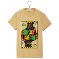 King of weeds reggae rastaman special style vintage fashion gray t shirt