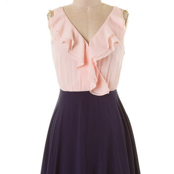 Blush and Navy V-Neck Dress