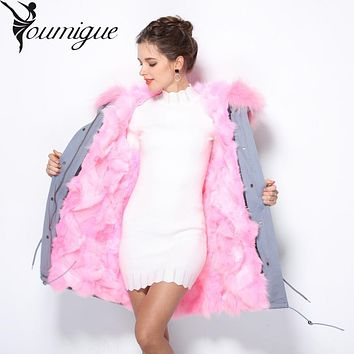 YOUMIGUE 2016 long Camouflage winter jacket coat women outwear warm thick parka natural real fur collar coat hooded ukraine
