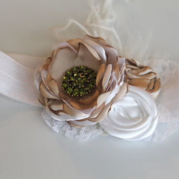 Petite christmas gold and white headband for baby-newborn-toddler-child-girl-teen-adult