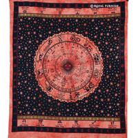 Orange Hindu Astrology Horoscope Zodiac Bohemian Tapestry Wall Hanging on RoyalFurnish.com