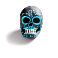 Day of the Dead Paper Mache Sugar Skull - Black and Blues