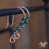 Petite Copper Earrings w/ Emerald Swarovski Crystals