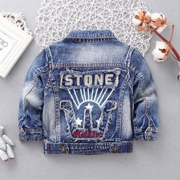 Trendy Spring Autumn Children's Jacket Denim Boys Jean Jackets Girls Kids Clothes Baby Coat Casual Outerwear SIZE:90-120 AT_94_13