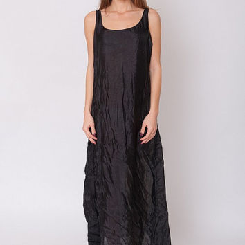 1990's Black Gown - Vintage 90s Tent Cocktail Sleeveless Semi Sheer Shiny Slouchy Loose Prom New Year Evening Long Maxi Dress M L XL