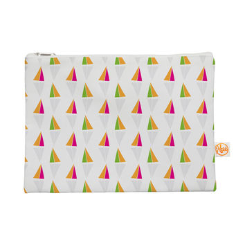 "Apple Kaur Designs ""Triangles"" Orange White Everything Bag"