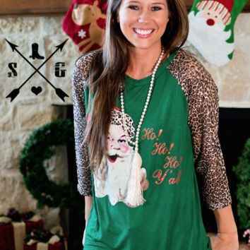 Santa Ho Ho Ho with Leopard Print Sleeves